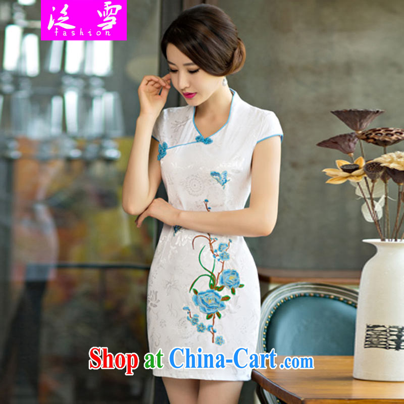 2015 summer new stylish and refined antique cheongsam dress China wind stamp dress 0234 blue S