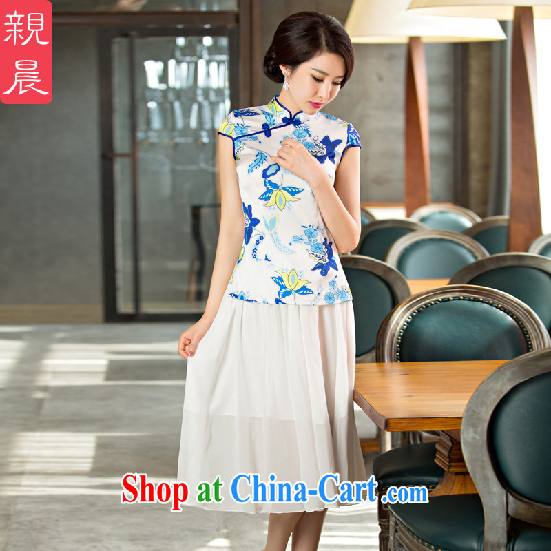 pro-am New 2015 daily improved Stylish Girl short, short-sleeved qipao dress summer dresses dresses FMS - 235 T-shirt + body snow woven skirt 3XL