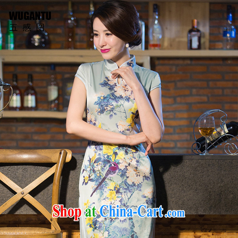 5 and the upscale Silk Cheongsam long summer 2015 new daily improved cultivation of AURA sense China wind WGT 239 photo color XXL