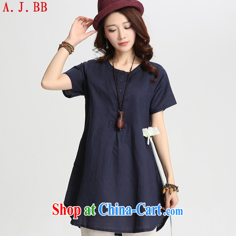 Black butterfly 2015 summer new blouses National wind, long, loose the cotton version the short-sleeved shirt T red XXL