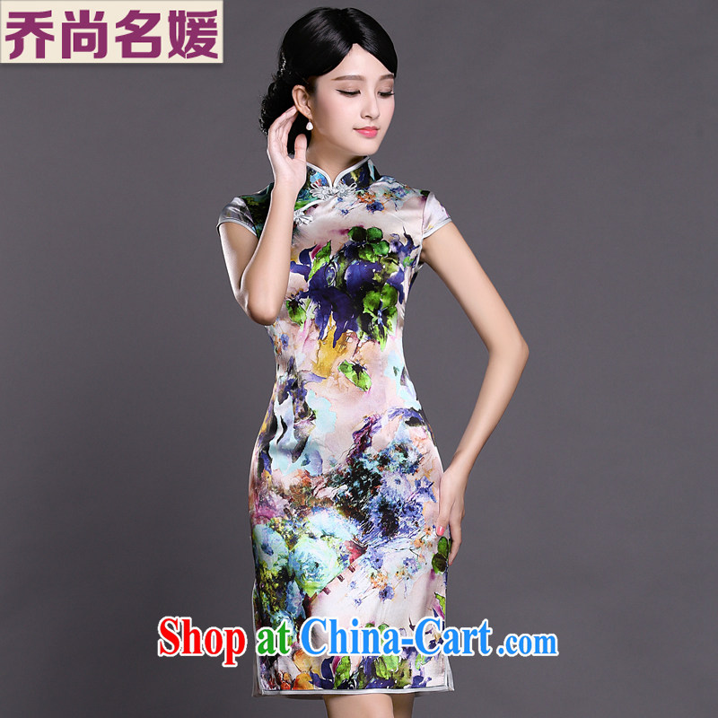 Joe is still a ritual summer new short-sleeved improved cheongsam skirt silk ZS 027 fancy XXL
