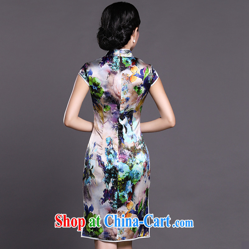 Joe is still a ritual summer new short-sleeved improved cheongsam skirt silk ZS 027 XXL suit, CHOSHAN LADIES, shopping on the Internet