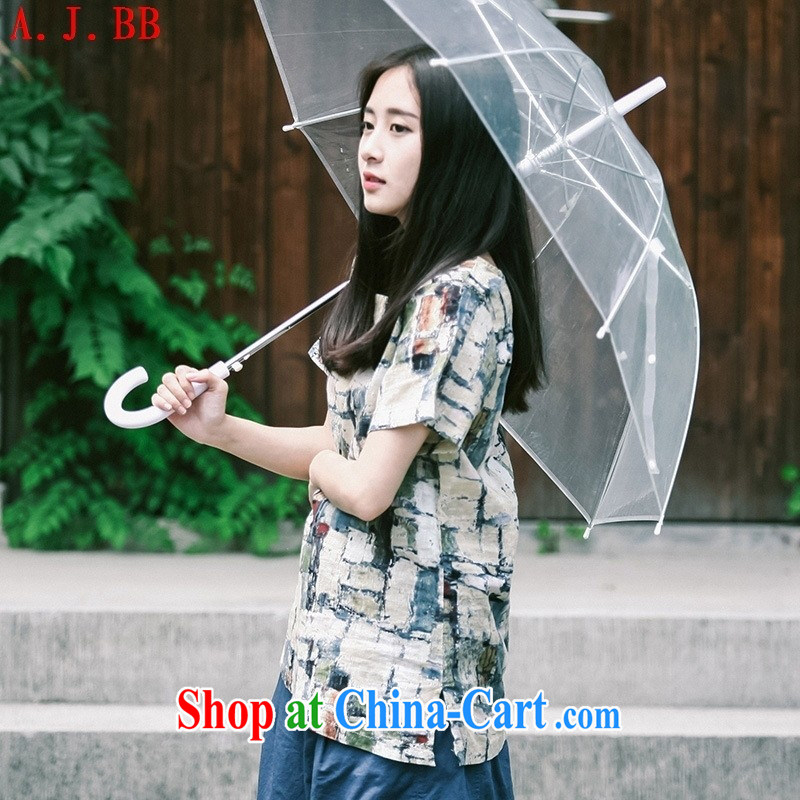 Black butterfly 2015 summer new blouses arts cotton Ma T checkered shirt loose short-sleeved linen T picture color L