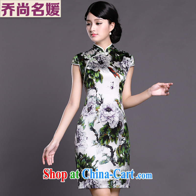 Joe is still name-yuan Silk Cheongsam dress Summer winds of Korea Ladies Tang replace ZS 036 green XXL