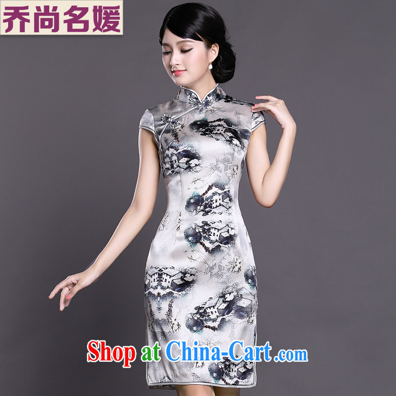 Joe is still name-yuan style Silk Cheongsam dress summer retro ethnic wind ZS 041 white XXL