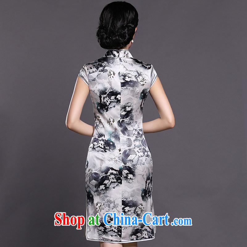 Joe is still name-yuan style Silk Cheongsam dress summer retro ethnic wind ZS 041 white XXL, CHOSHAN LADIES, shopping on the Internet