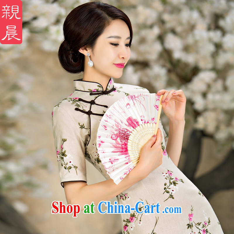 pro-am 2015 new improved cheongsam Stylish retro summer day, short cotton the cheongsam dress short 2 XL