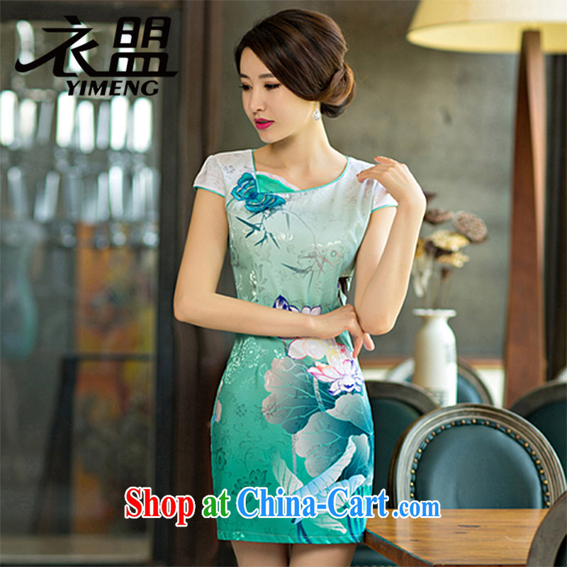 Yi ASEAN 2015 summer Women's clothes the lotus the gradient improved stylish upscale attire dresses 8112 green XXL