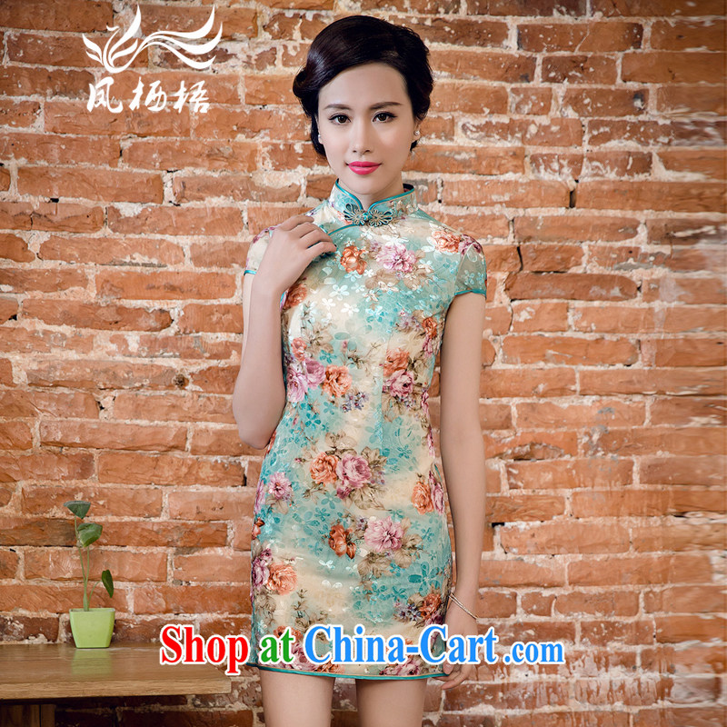 Bong-amphibious Ori-summer 2015 new true wool dresses high fashion style velour cheongsam dress DQ 15,123 green XXL