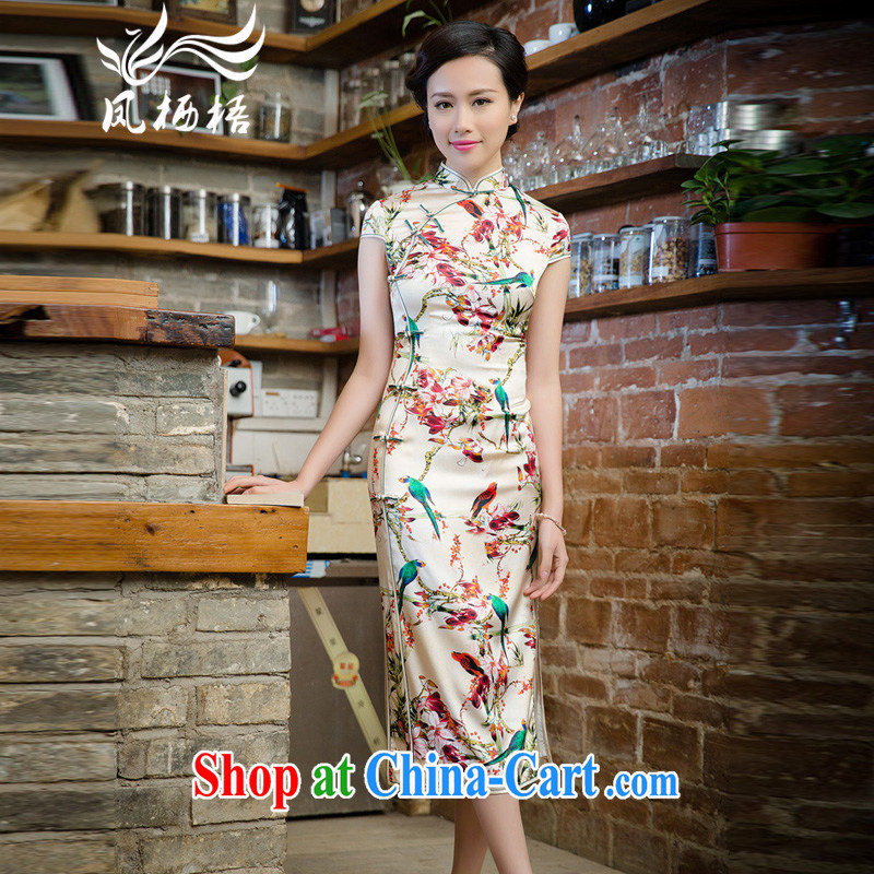 Bong-amphibious NTHU summer 2015 New Silk Cheongsam exclusive fashion sauna silk long cheongsam dress dress DQ 15,124 fancy XXL