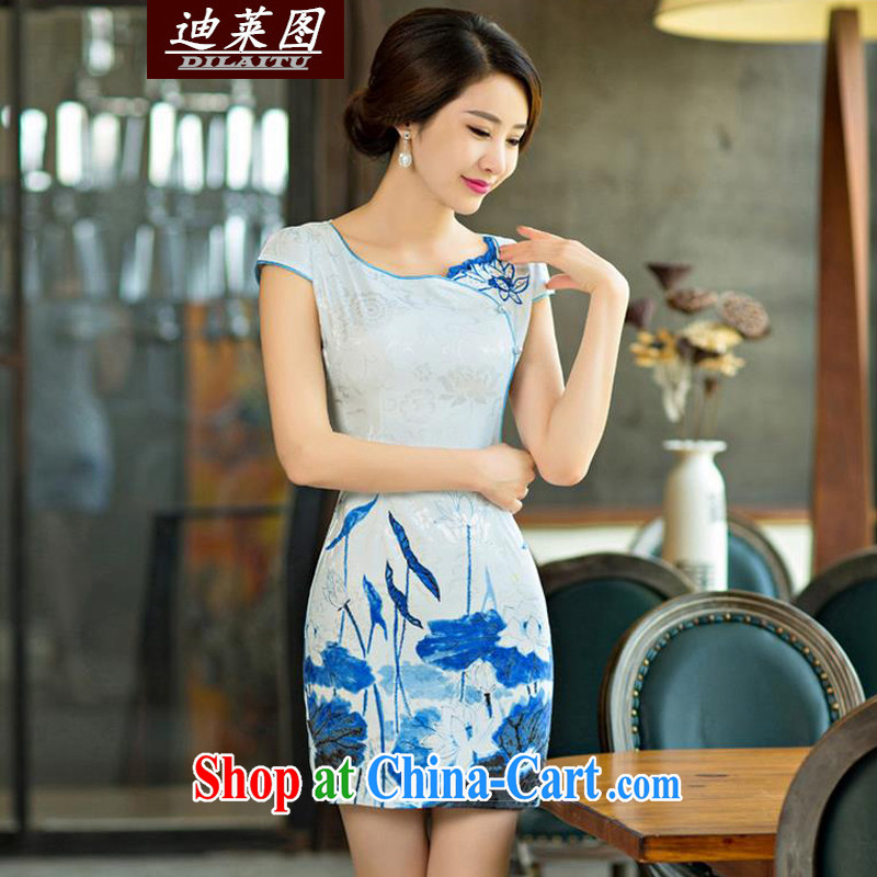 At the 2015 summer improved female cheongsam dress retro beauty everyday dresses short dresses, colored blue XXL