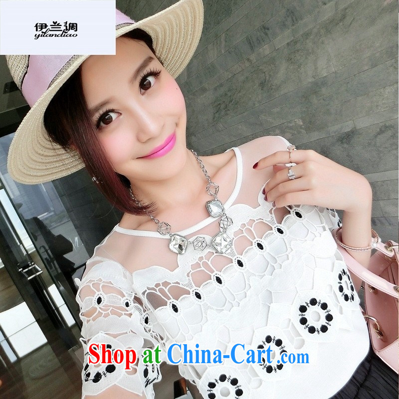 9 month female * 2015 Summer in Europe and new shoulder fluoro water-soluble lace stitching snow woven shirts T shirts female white are code