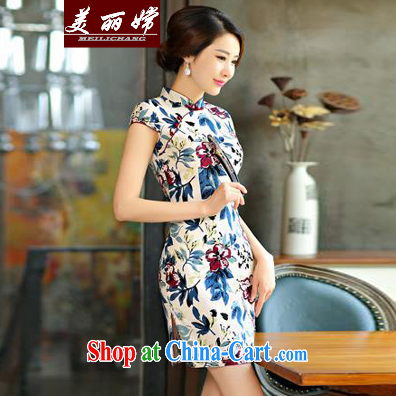 Beautiful-oriented Korea 2015 new cheongsam dress summer basket stamp duty the retro improved cultivation short daily outfit white XXL