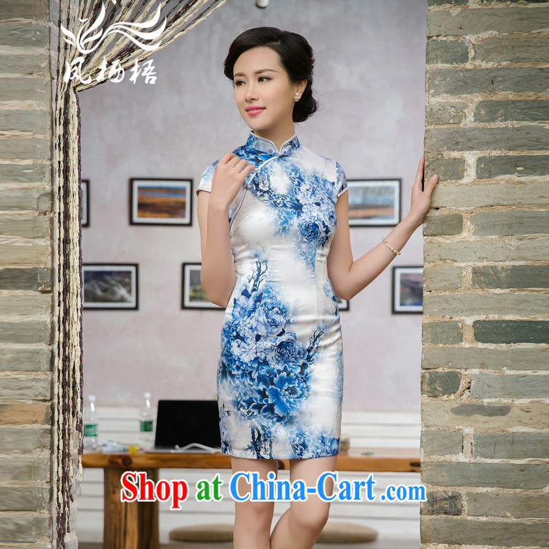 Bong-amphibious NTHU summer 2015 New Silk Cheongsam floral retro stylish upmarket sauna silk blue dress cheongsam dress DQ 15,125 fancy XXL