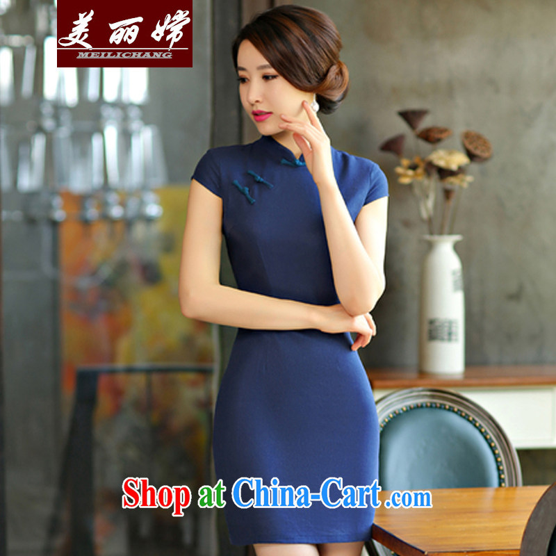 Beautiful-oriented Korea 2015 new summer wear solid color simplicity of Korea Culture and Arts, cultivating improved Chinese Dress dark blue XXL