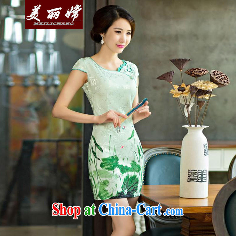 Beautiful-oriented Korea 2015 summer improved female cheongsam dress retro beauty everyday dresses short dresses green XXL