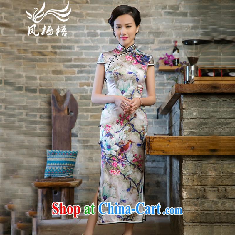 Bong-amphibious NTHU summer 2015 New Silk long cheongsam dress retro fashion sauna Silk Cheongsam dress skirt DQ 15,127 fancy XXL