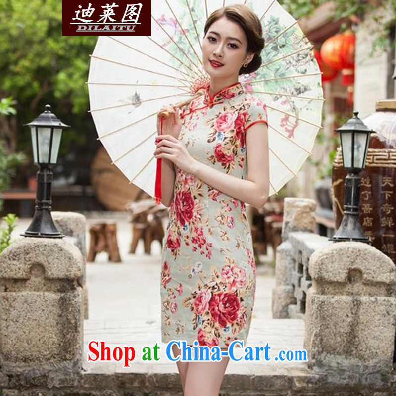 At the 2015 spring new improved Stylish retro dresses dresses daily sauna silk Silk Cheongsam Map Color XXL