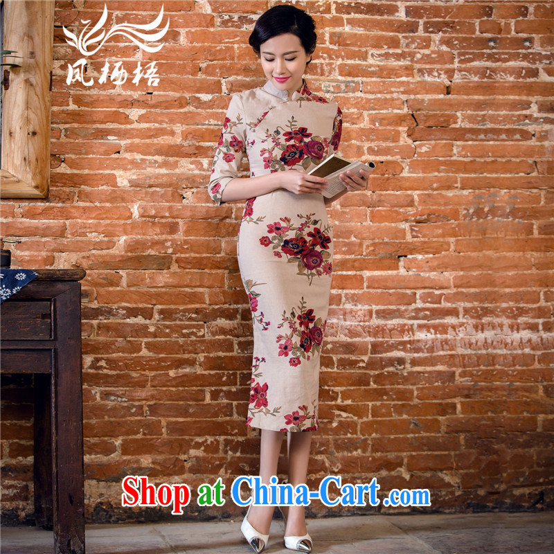 Bong-amphibious NTHU summer 2015 new linen dresses retro in long sleeves, cotton the cheongsam dress DQ 151,132 card its color XXL