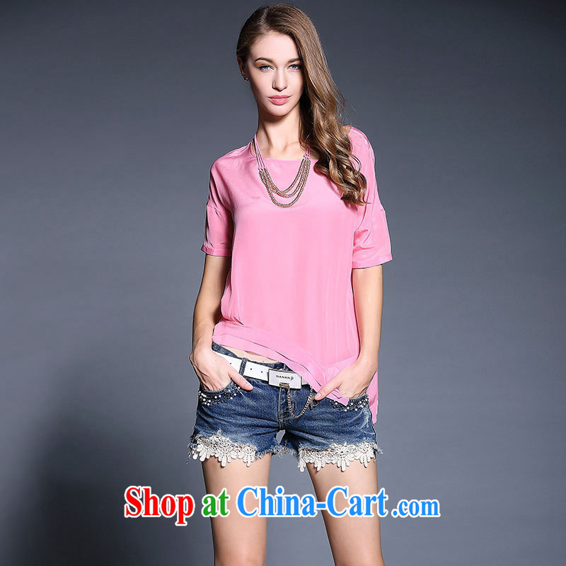 hamilton the European site casual stylish silk upscale blouses summer 2015 new female T shirt with color chains green L