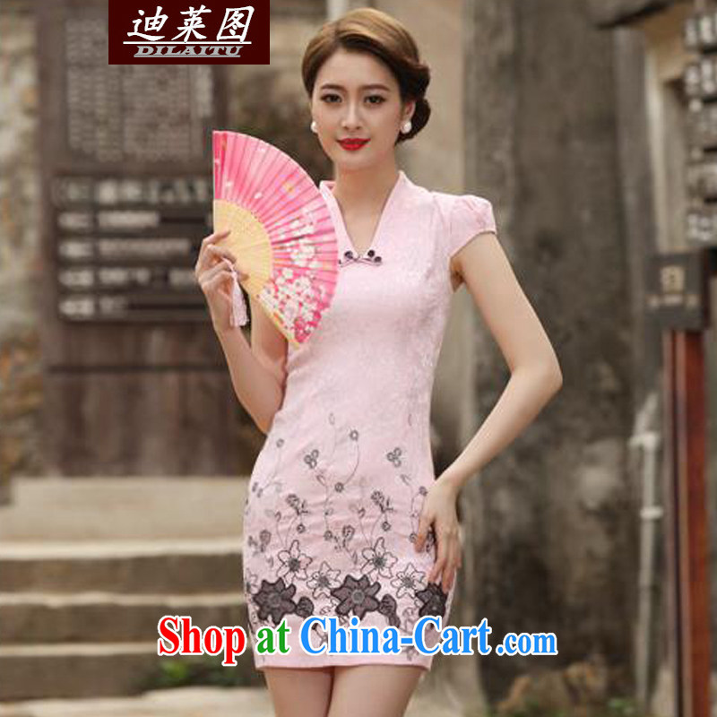 At the 2015 Women's summer wind on the hook take Phoenix jacquard stamp lace improved cultivating cheongsam dress short skirt retro dress skirt lady pink XXL