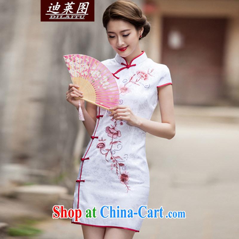 At the 2015 women new XL Ethnic Wind Chinese Chinese Embroidery antique style beauty video thin package and cheongsam dress white L