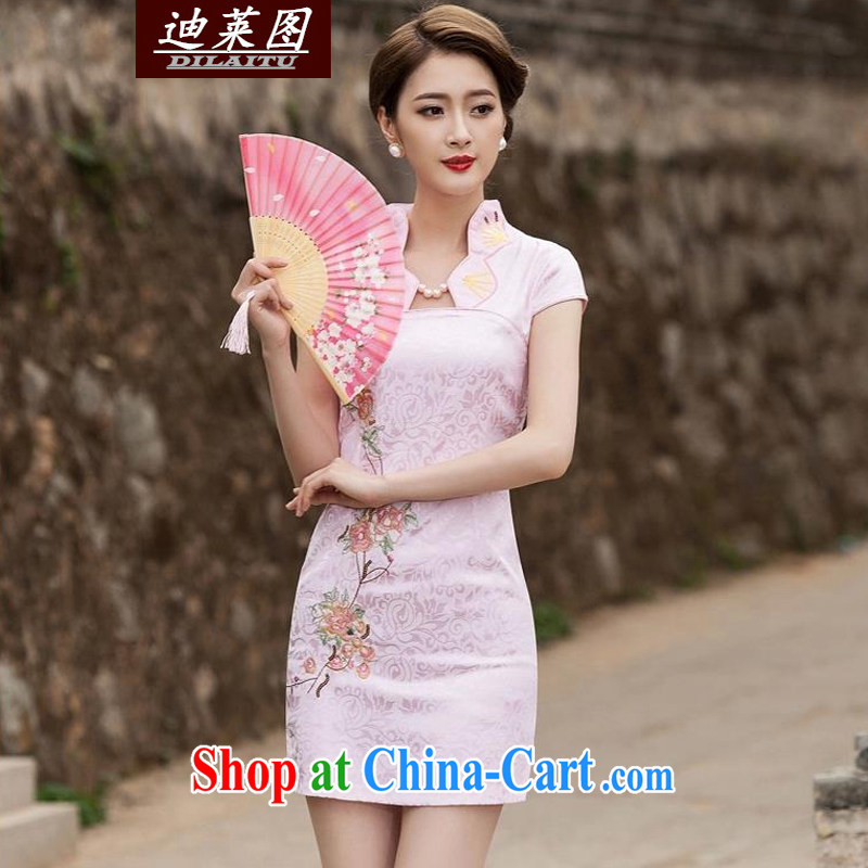 At the 2015 Women's summer wind on the hook take Phoenix jacquard stamp lace improved cultivating cheongsam dress short skirt retro dress skirt lady pink XL