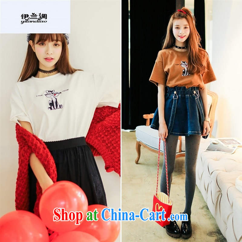 9 month female * 2015 love pill summer new liberal small drop shoulder squirrel embroidery 100 ground leisure short-sleeve T shirt peach toner color code