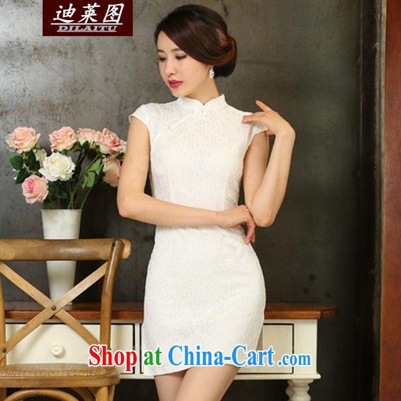 At the 2015 summer new lace cheongsam dress daily short video thin beauty dresses white XL