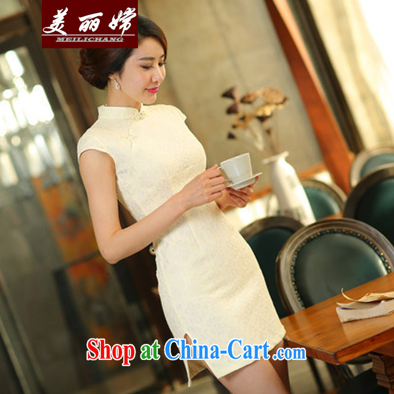 Beautiful-oriented Korea 2015 summer new lace cheongsam dress daily short video thin beauty dresses apricot XL