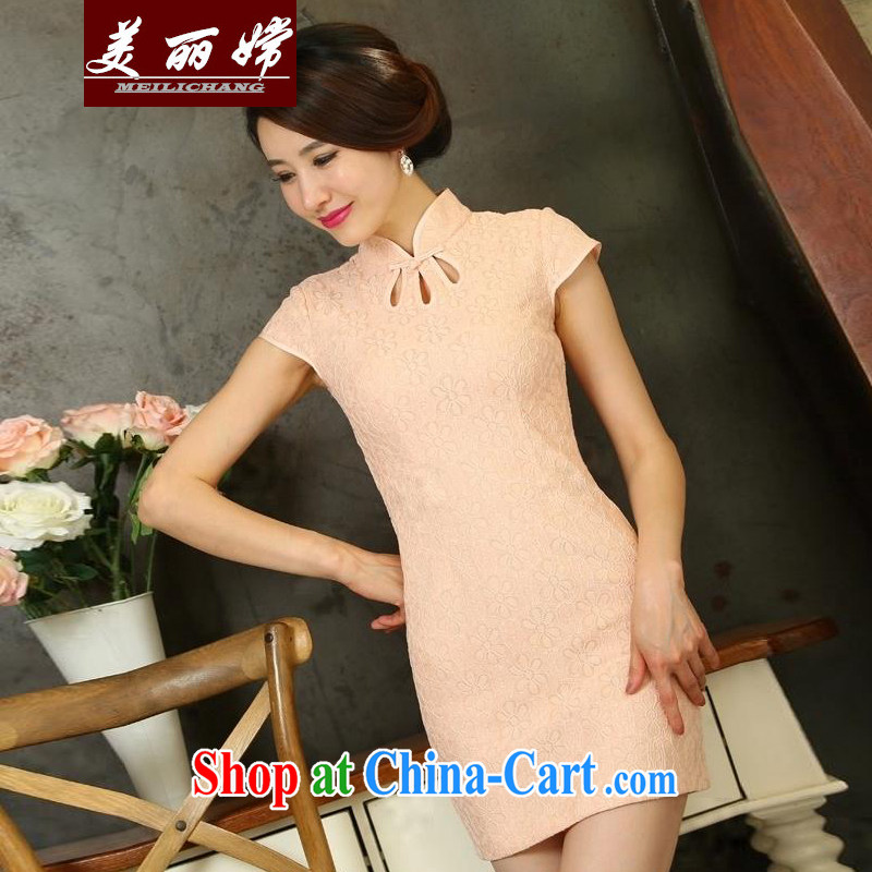 Beautiful-oriented Korea 2015 summer new lace cheongsam dress daily short video thin beauty Pink dresses XL