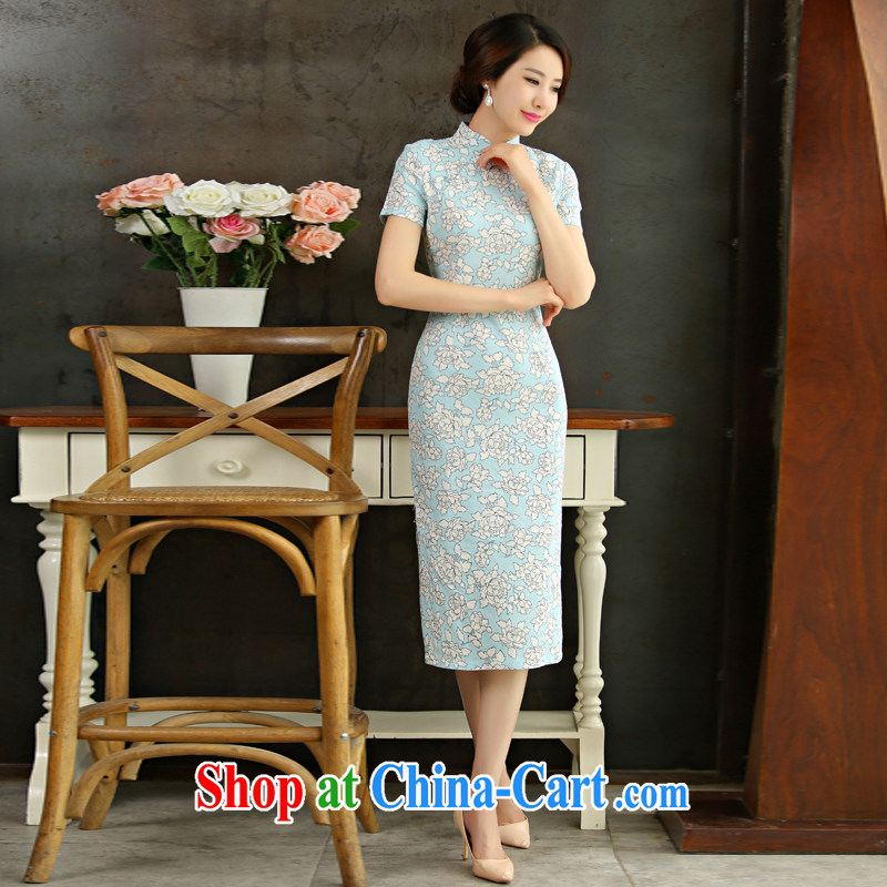 Yi Yi Lian Lian 2015 summer new boxed retro beauty graphics thin short sleeves in the Code improved linen long skirt outfit, if 9011 XL