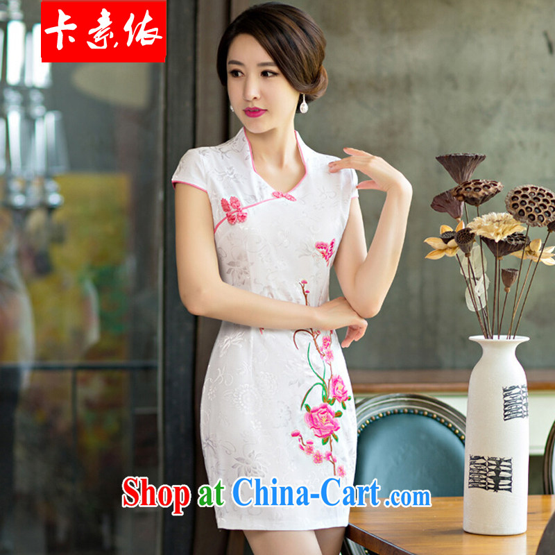 Card in accordance with our 2015 summer improved female cheongsam dress retro beauty everyday dresses short dresses red S
