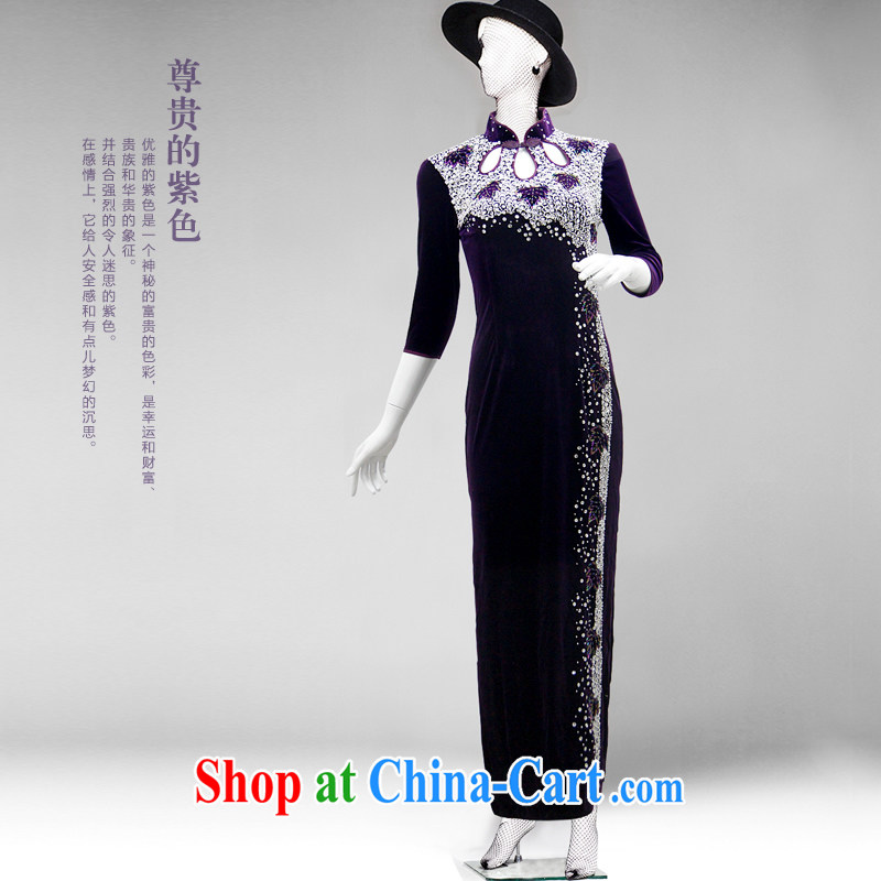 The CYD HO Kwun Tong' purple-to-East to the high cuff velvet cheongsam MOM wearing long retro high on the truck dress in purple cuff XXXL