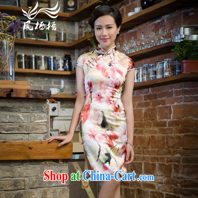 Bong-amphibious Ori-2015 summer Silk Cheongsam floral retro, short-sleeved sauna Silk Cheongsam dress DQ 15,134 fancy XXL