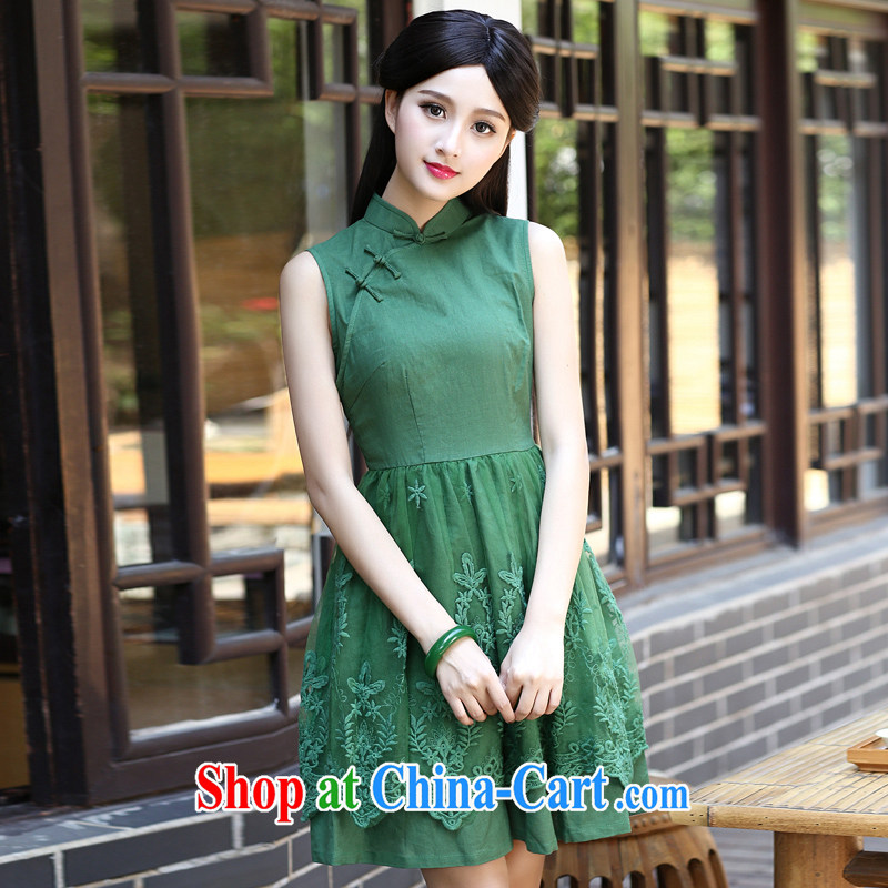 The Yee-sa-2015, new lace stitching improved cheongsam dress retro Ethnic Wind women's clothing everyday dresses dresses H Z green 2 XL