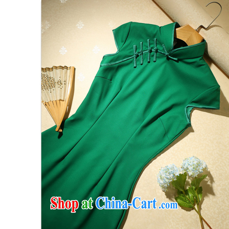 Love spell Fort Lauderdale daily cheongsam dress spring 2015 new retro improved fashion cheongsam dress shirt summer cultivating the waist, green XXL