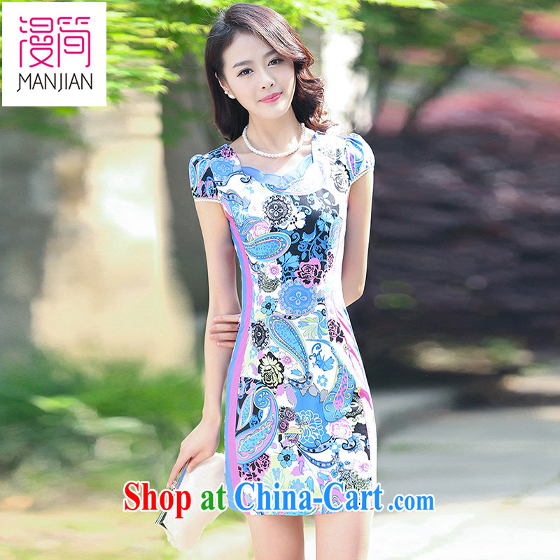 Animated short sleeve cheongsam dress women summer 2015 new Chinese Ethnic Wind toast clothing graphics thin package and blue floral XXL