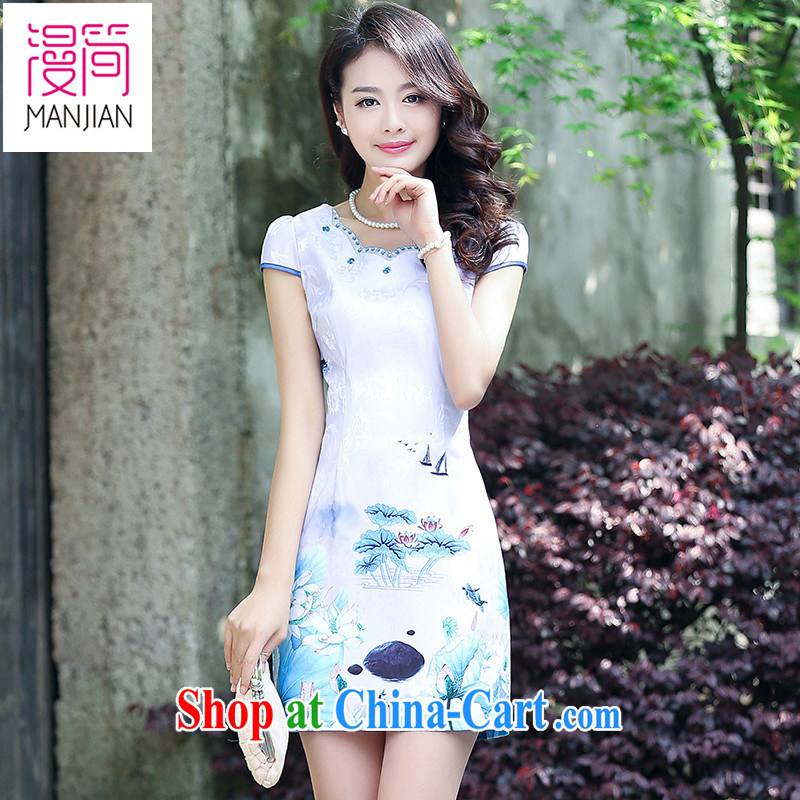 Animated short cheongsam dress short-sleeved 2015 new Summer of Yuan Chinese Dress package and cultivating retro improved bows serving light purple XXL