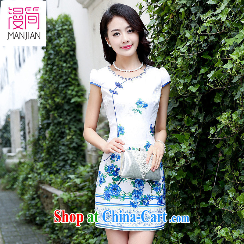 Animated short skirt cheongsam dress summer women celadon take Ethnic Wind Chinese improved bows service packages and short skirts blue rose XXL