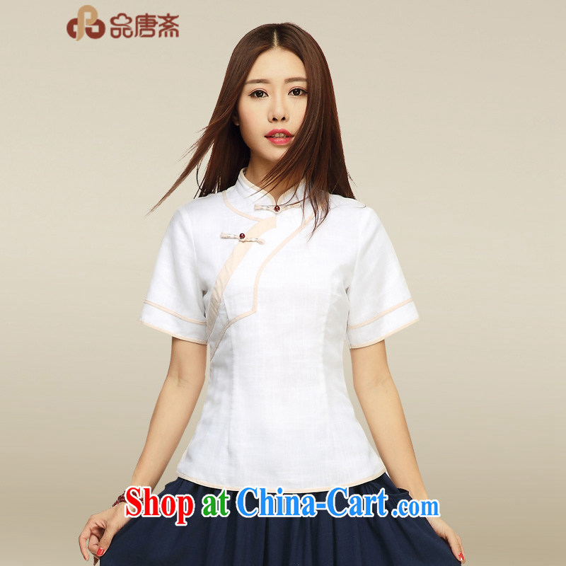 Mr Henry Tang, Id al-Fitr, served female improved classical Chinese style Ethnic Wind Chinese summer Ms. Chinese cotton the cheongsam shirt picture color XL