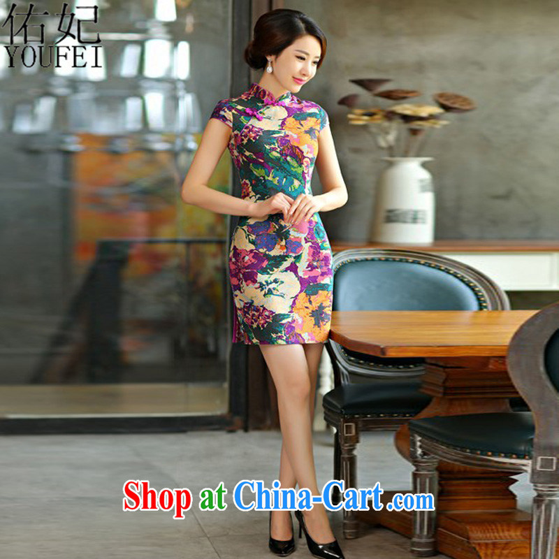 Princess Diana, 2015 new cheongsam dress summer basket stamp duty the retro improved cultivating short-day qipao L 0209