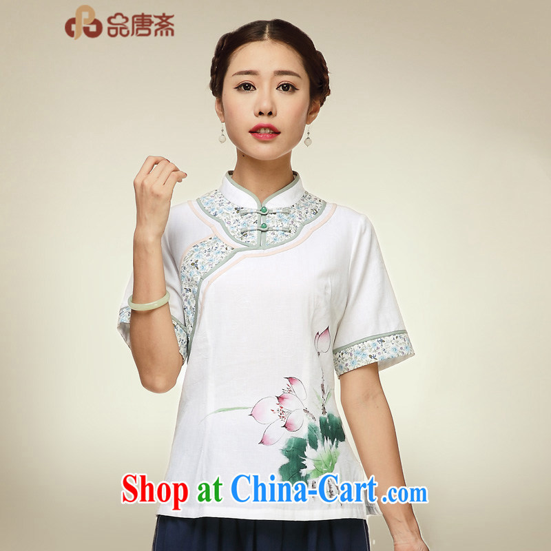 Mr Henry Tang, Id al-Fitr, served girls cotton the cheongsam T-shirt short-sleeved Chinese style tea serve Chinese cotton the Chinese, summer retreat T-shirt picture color XL