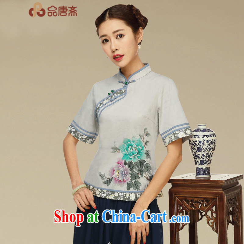 Mr Henry Tang, Id al-Fitr Tang Women's clothes summer retro China wind tea, service improvement, served short-sleeved T-shirt outfit picture color XL