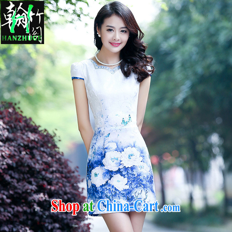 Han bamboo Pavilion new cheongsam dress stylish and refined and elegant daily 2015 summer short sleeve cheongsam dress style female blue flower XXL