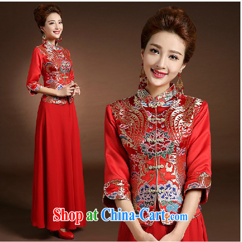 Pure bamboo love yarn new wedding dresses qipao,Chinese brides and gowns red embroidery cheongsam package bows dress dresses spring thick 2 piece bridal flag red XXXL