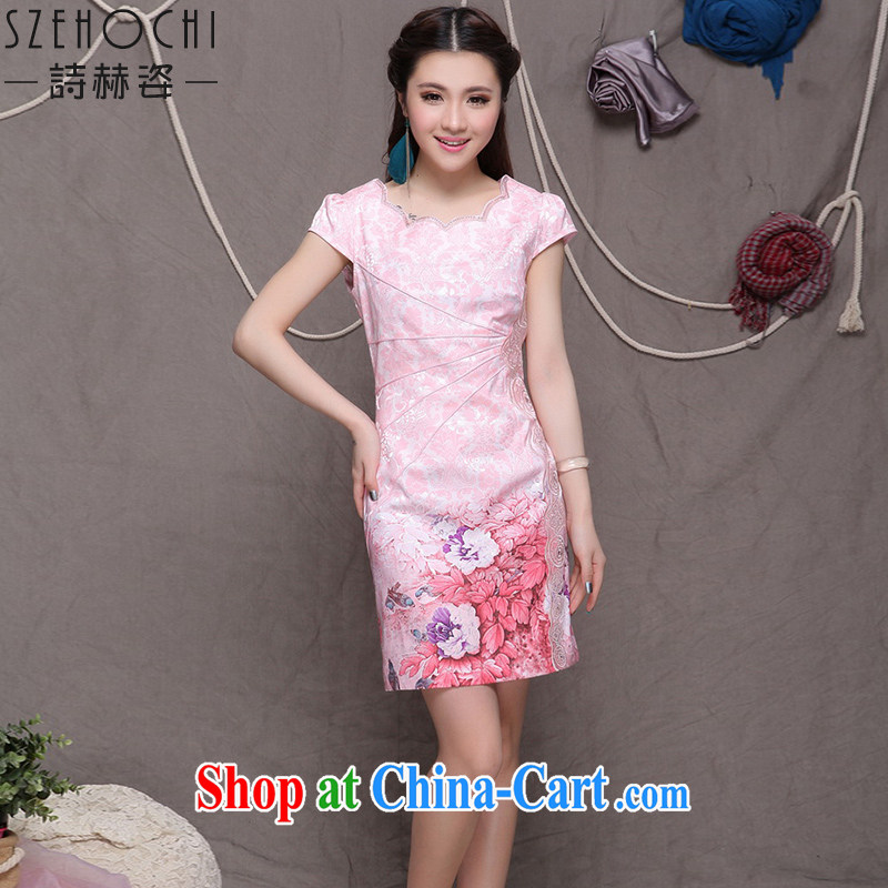 Poetry, Beauty 2015 summer New Beauty cheongsam dress high-end ethnic wind stylish Chinese qipao dress short-sleeved retro style graphics thin short skirt pink XXL