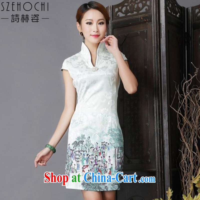 poetry competition 2015 colorful summer dresses dresses ethnic style in a new, short-sleeved, Daily Beauty sexy outfit short skirt with improved stylish short skirts light green XL