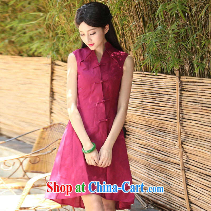 The cross-sectoral winding up Elizabeth and sleeveless improved cheongsam dress summer retro cotton Ma Literary women dresses daily dress H Z red 2 XL