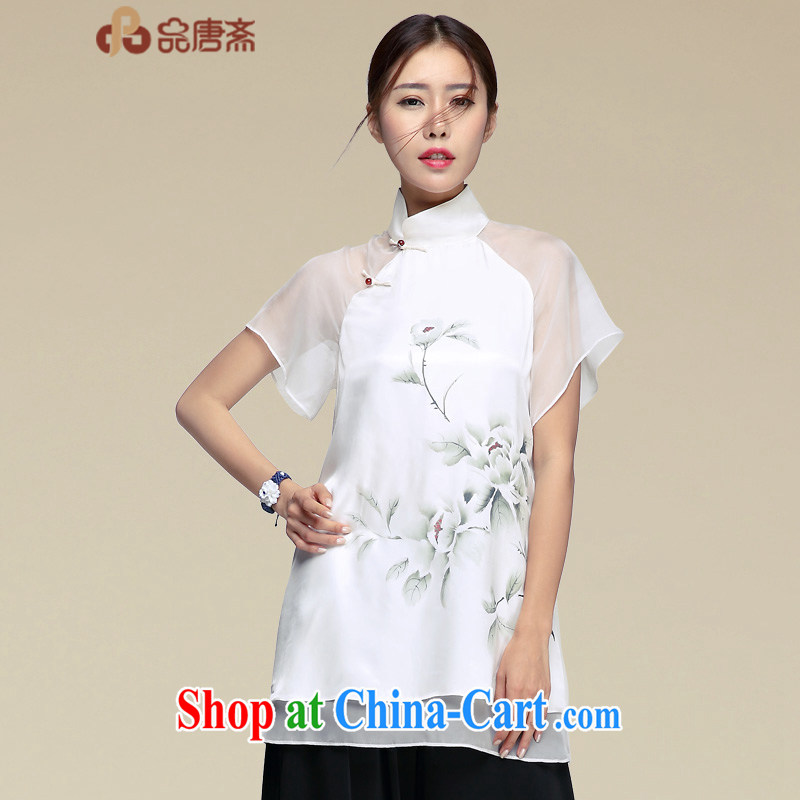 For Ramadan Tang Tang Women's clothes retro China wind sauna silk Chinese improved Han-summer short-sleeved Silk Cheongsam shirt picture color XXL